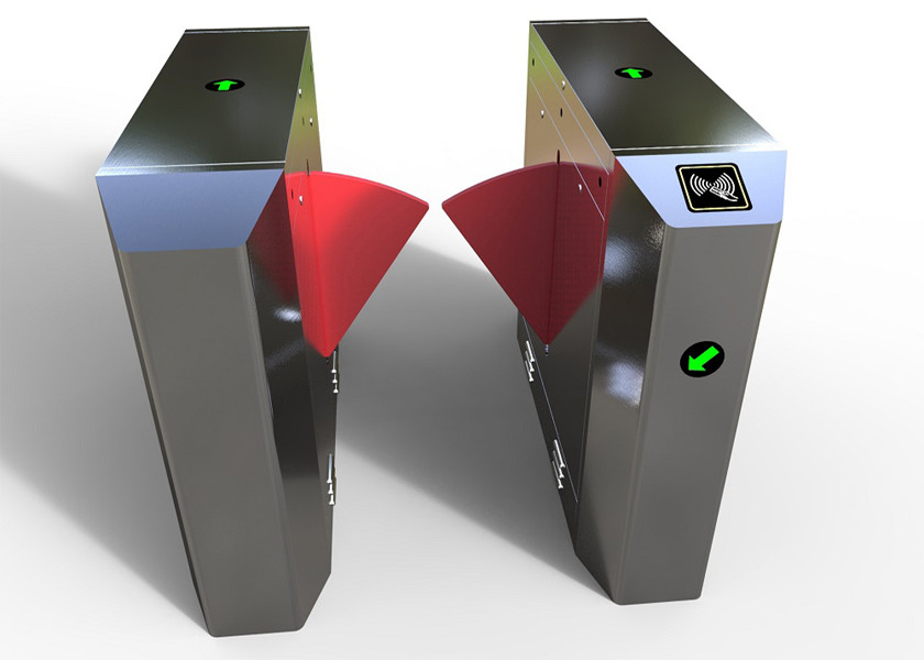 Pedestrian Management Flap Barrier Turnstile Infrared Sensor Anti Trap Voice Prompt