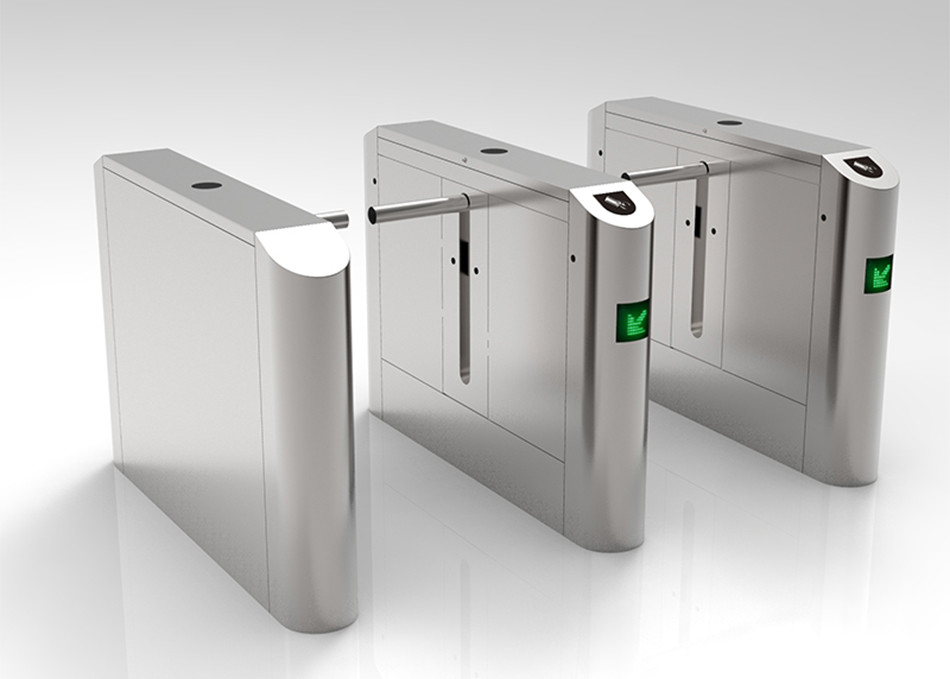 Slim Profile Drop Arm Turnstile SS304 Cabinet Remote Control Brushless Motor Optical Detection